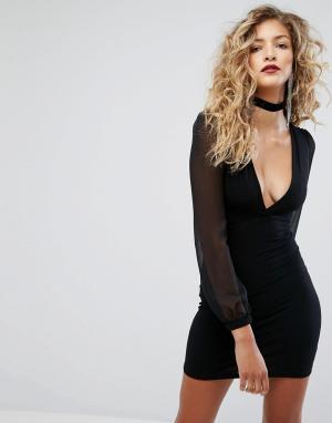 Motel Платье мини с полупрозрачными рукавами. Цвет: черный