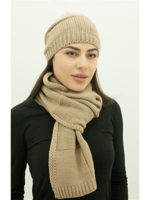 Шапка с шарфом DARBOURSTORE. Цвет: светло-коричневый