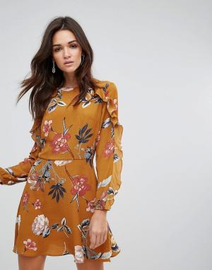 AX Paris Свободное платье с длинными рукавами и цветочным принтом. Цвет: рыжий