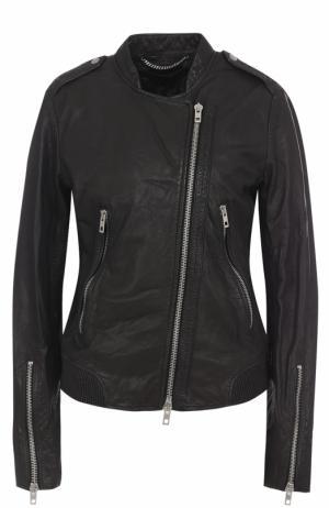 Кожаная куртка с косой молнией Rag&Bone. Цвет: черный