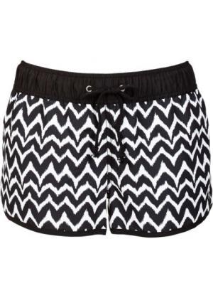 Пляжные шорты (черный/белый с узором) bonprix. Цвет: черный/белый с узором