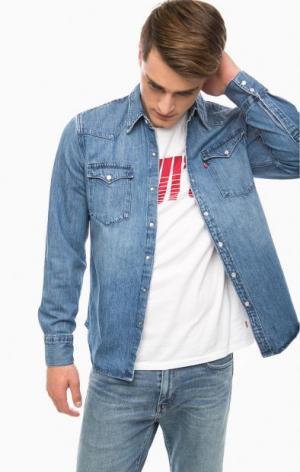 Джинсовая рубашка с длинными рукавами Levi's®. Цвет: синий