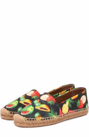 Текстильные эспадрильи с принтом Dolce & Gabbana. Цвет: черный