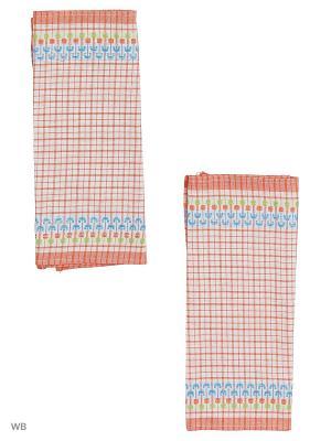 Набор полотенец лен Украинка Римейн. Цвет: красный