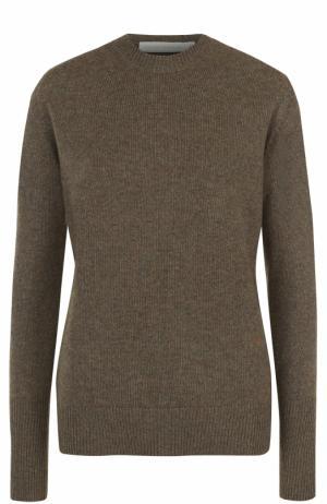 Кашемировый пуловер с круглым вырезом Victoria Beckham. Цвет: хаки