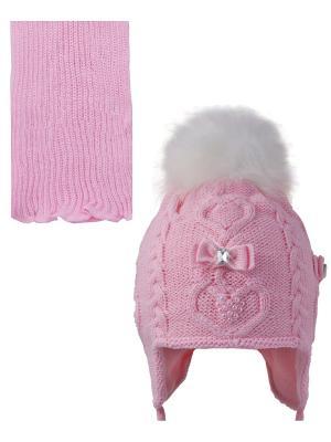 Шапка; шарф Ambra. Цвет: бледно-розовый