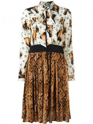 Платье с комбинированным принтом Fausto Puglisi. Цвет: телесный