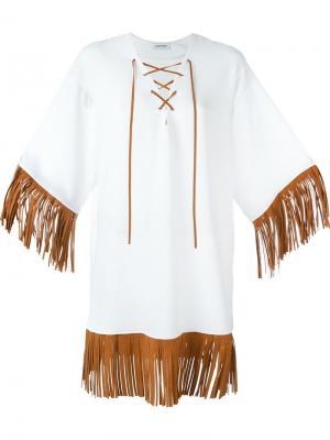 Платье с бахромой Au Jour Le. Цвет: белый