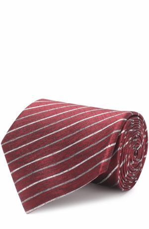 Шелковый галстук в полоску Lanvin. Цвет: красный