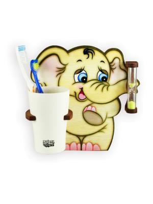 Настенные часы с подставкой для зубных щёток Три минутки - здоровые зубки, Слон Семён Ларец Чудес. Цвет: светло-коричневый, розовый