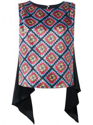 Блузка с драпировкой и орнаментом Ultràchic. Цвет: чёрный
