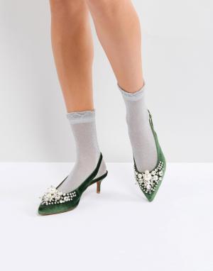 Essentiel Antwerp Туфли на каблуке с отделкой Pastis. Цвет: зеленый