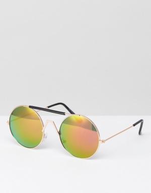 7X Солнцезащитные очки с красными стеклами в стиле ретро. Цвет: золотой
