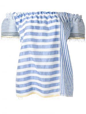 Полосатая блузка с открытыми плечами Lemlem. Цвет: синий