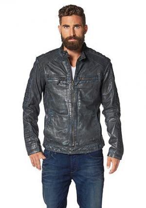 Кожаная куртка Jacques MAZE. Цвет: синий потертый
