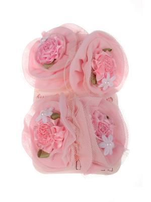 Бантики для волос на длинных резинках розочка с цветочком бусиной, набор 2 по шт, светло-розовые Радужки. Цвет: бледно-розовый