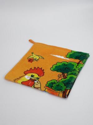 Полотенце Петух с цветком La Pastel. Цвет: оранжевый, зеленый