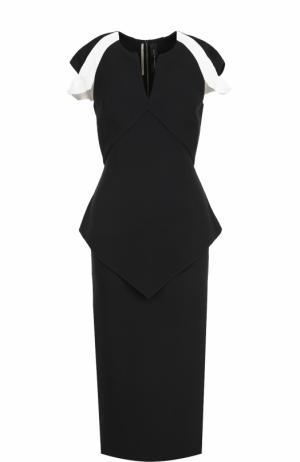 Платье-футляр с V-образным вырезом и коротким рукавом Roland Mouret. Цвет: черно-белый