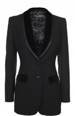 Приталенный жакет на двух пуговицах Dolce & Gabbana. Цвет: черный