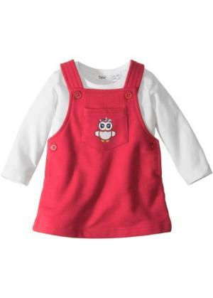 Для малышей: футболка с длинным рукавом + трикотажное платье (2 изд.), биохлопок (кремовый/красный) bonprix. Цвет: кремовый/красный