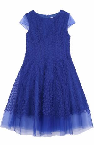 Многослойное макси-платье с цветочной отделкой David Charles. Цвет: синий