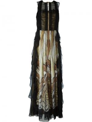Длинное платье с вышивкой Alberta Ferretti. Цвет: чёрный
