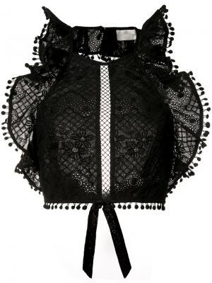 Укороченный топ с рюшами Zimmermann. Цвет: чёрный