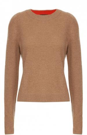 Кашемировый пуловер с круглым вырезом и удлиненным рукавом Rag&Bone. Цвет: бежевый