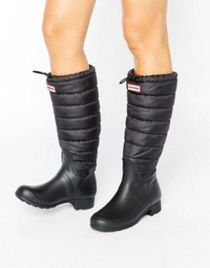 Hunter Черные резиновые ботинки со стеганым голенищем Original. Цвет: черный