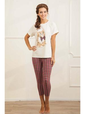 Комплект одежды CLEO. Цвет: красный, молочный