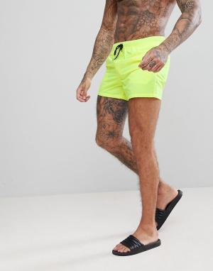 ASOS Желтые короткие шорты для плавания. Цвет: желтый