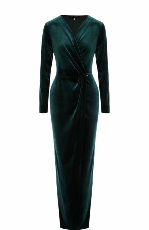 Бархатное платье-макси с V-образным вырезом Inna Honour. Цвет: темно-зеленый