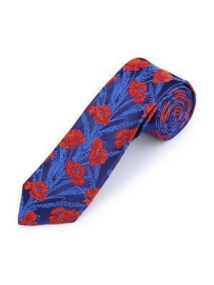 Галстук Poppy Garden Smalt Duchamp. Цвет: темно-синий, коралловый, красный, оранжевый, синий