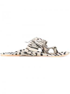 Сандалии Scaramouche с зебровым принтом Figue. Цвет: чёрный
