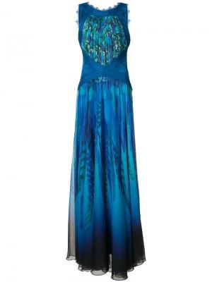Платье с перекрещивающимися лямками Tadashi Shoji. Цвет: синий