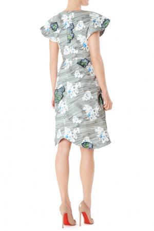 Платье с принтом и аппликациями Vika Gazinskaya. Цвет: серый