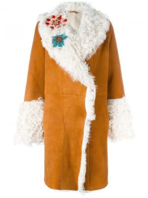 Декорированное пальто с отделкой из овчины Giada Benincasa. Цвет: коричневый