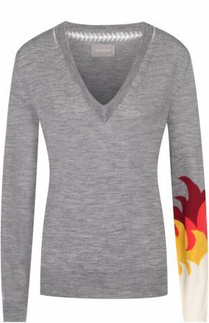 Пуловер прямого кроя с V-образным вырезом Zadig&Voltaire. Цвет: светло-серый