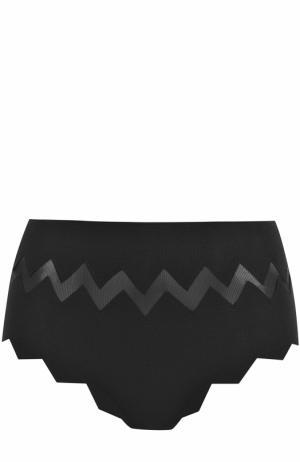 Плавки-бикини с завышенной талией и фигурной отделкой Marysia. Цвет: черный