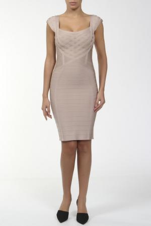Платье Herve Leger. Цвет: бежевый