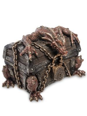 Шкатулка Дракон на сундуке Veronese. Цвет: бронзовый,красный