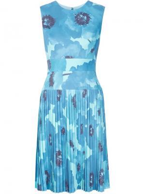 Платье с цветочным принтом Lela Rose. Цвет: синий