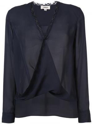 Блузка с V-образным вырезом Lagence L'agence. Цвет: синий