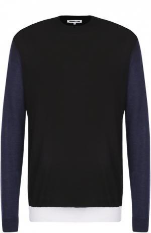 Джемпер из шерсти тонкой вязки с контрастной отделкой MCQ. Цвет: черный
