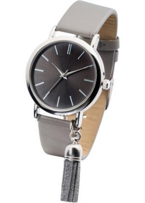 Часы наручные с кисточкой (серый/серебристый) bonprix. Цвет: серый/серебристый