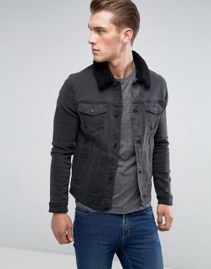 ASOS Выбеленная черная джинсовая куртка скинни с воротником из искусственно. Цвет: черный