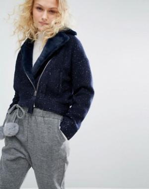 I Love Friday Байкерская куртка с воротником из искусственного меха. Цвет: темно-синий