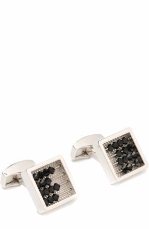 Запонки с кристаллами Swarovski Tateossian. Цвет: черный