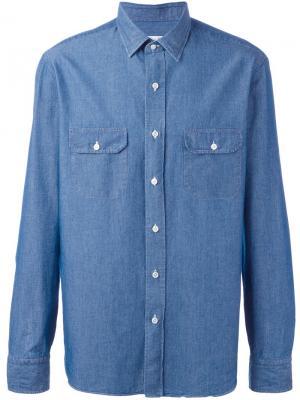 Рубашка из денима Salvatore Piccolo. Цвет: синий