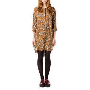 Платье короткое прямое с рисунком и рукавами 3/4 BEST MOUNTAIN. Цвет: горчичный рисунок